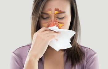 Young woman with chronic rhinitis.